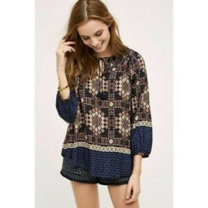 Anthro 11.1.Tylho Navy Patterned Peasant Blouse
